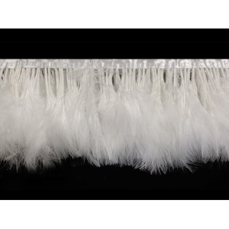 - 1 Yard - White Marabou Turkey Fluff Feather Fringe Trim