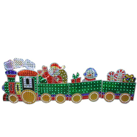4-Piece Holographic LED Lighted Motion Train Set Outdoor Christmas Decoration ()