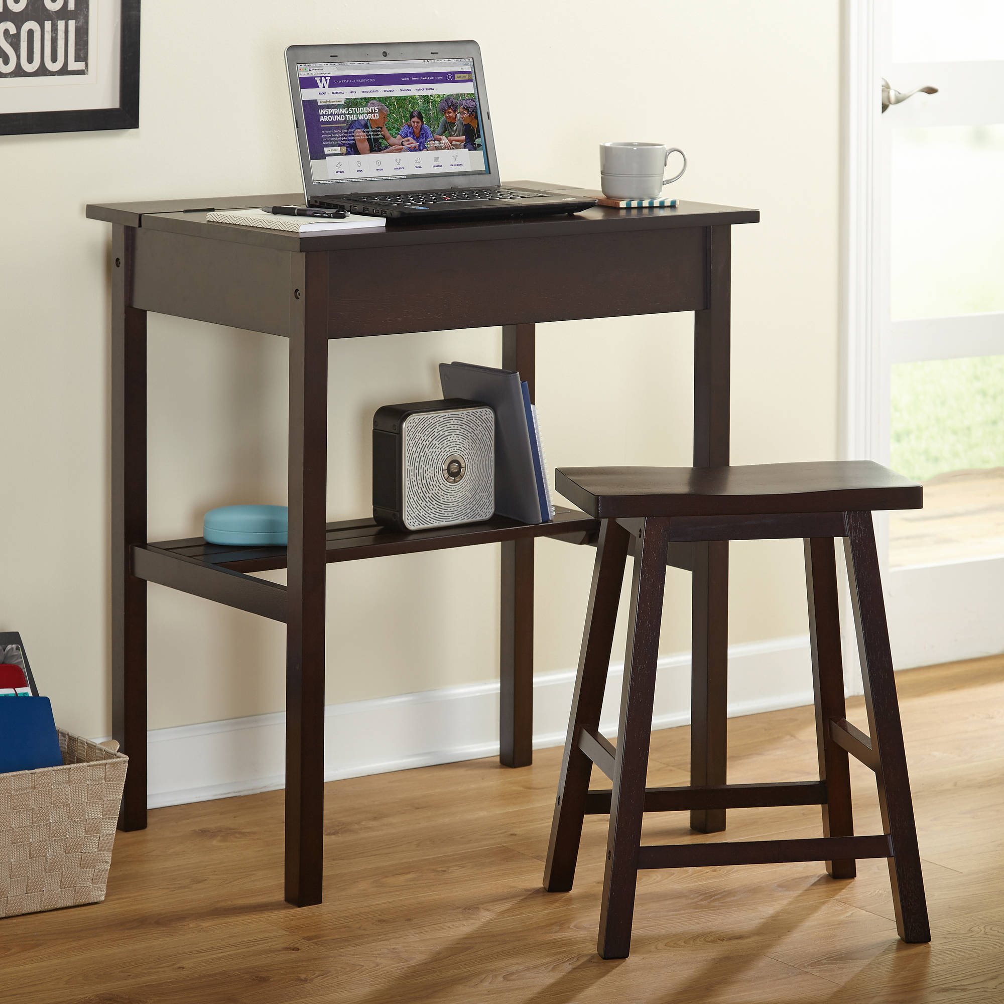 Lincoln Writing Desk And Saddle Stool Value Bundle Espresso