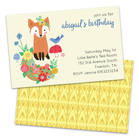 Personalized Friendly Birthday Fox Birthday Party Invitations](Halloween Birthday Costume Party Invitation Wording)