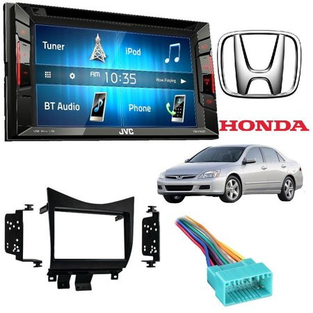 JVC KW-V140BT Double Din In-Dash DVD/CD/AM/FM Stereo + Double DIN Car Radio Stereo Dash Kit Wire Harness for 2003-2007 Honda Accord (Stereo For Honda Accord 2018)