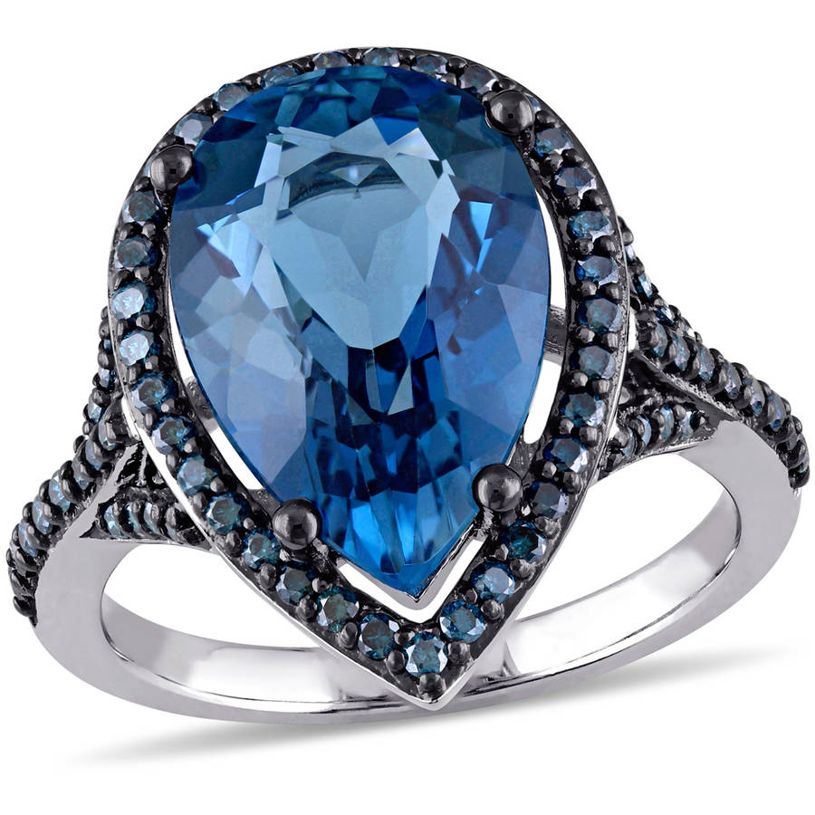 Tangelo 1 2 Carat T.W Blue Diamond and 6-3 4 Carat T.G.W. Blue Topaz 14kt Blue Rhodium-Plated White Gold Teardrop Ring by Tangelo
