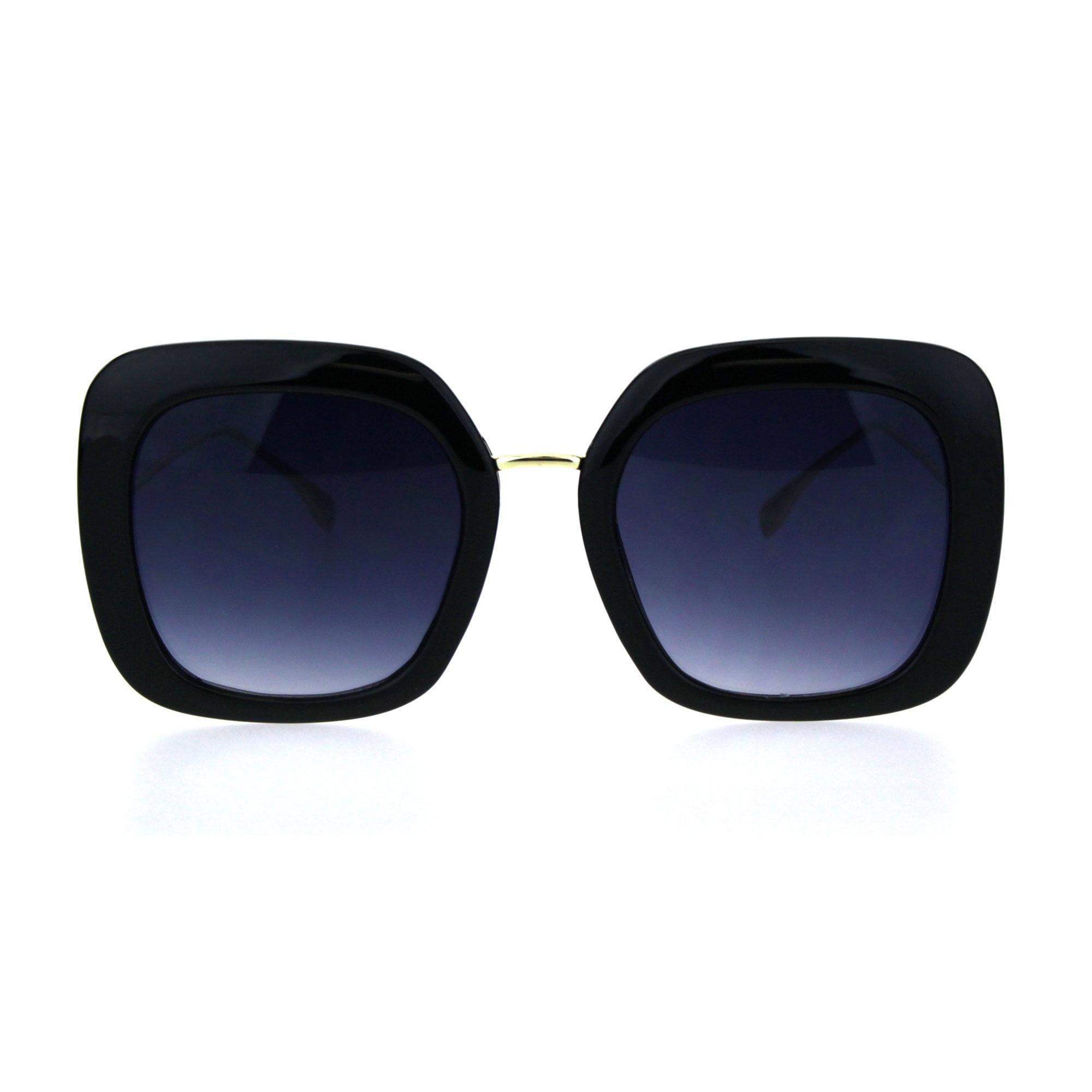 Womens Minimal Mod Thick Plastic Rectangular Butterfly Designer Sunglasses