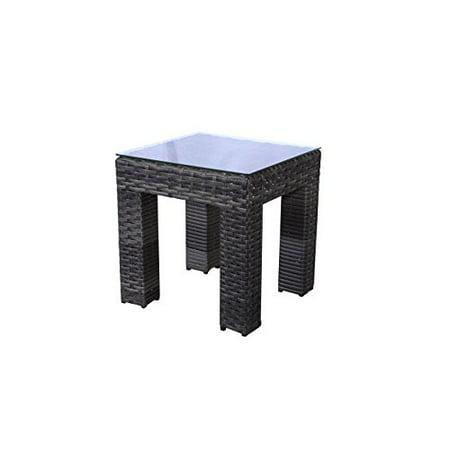 Teva Patio Bora Bora Wicker Rattan Patio End Table With Glass Top
