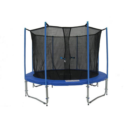 ExacMe 12-Foot Trampoline, with Safety Enclosure and Ladder Set, Blue (Box 1 of 3)