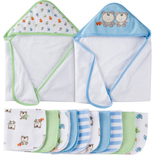 Gerber Newborn Baby Boy Towels and Washcloth Bath Set, 12-Piece by Gerber Childrenswear LLC