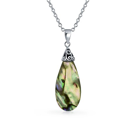 Geometric Rainbow Shell Inlay Teardrop Abalone Pendant Necklace For Women For Teen 925 Sterling Silver With -