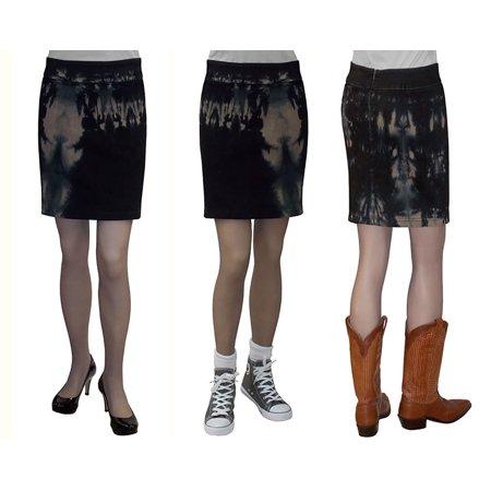 Women's Sexy Tie Dye Stretch Denim Mini Skirt Tan/Black 83% Discounted Price
