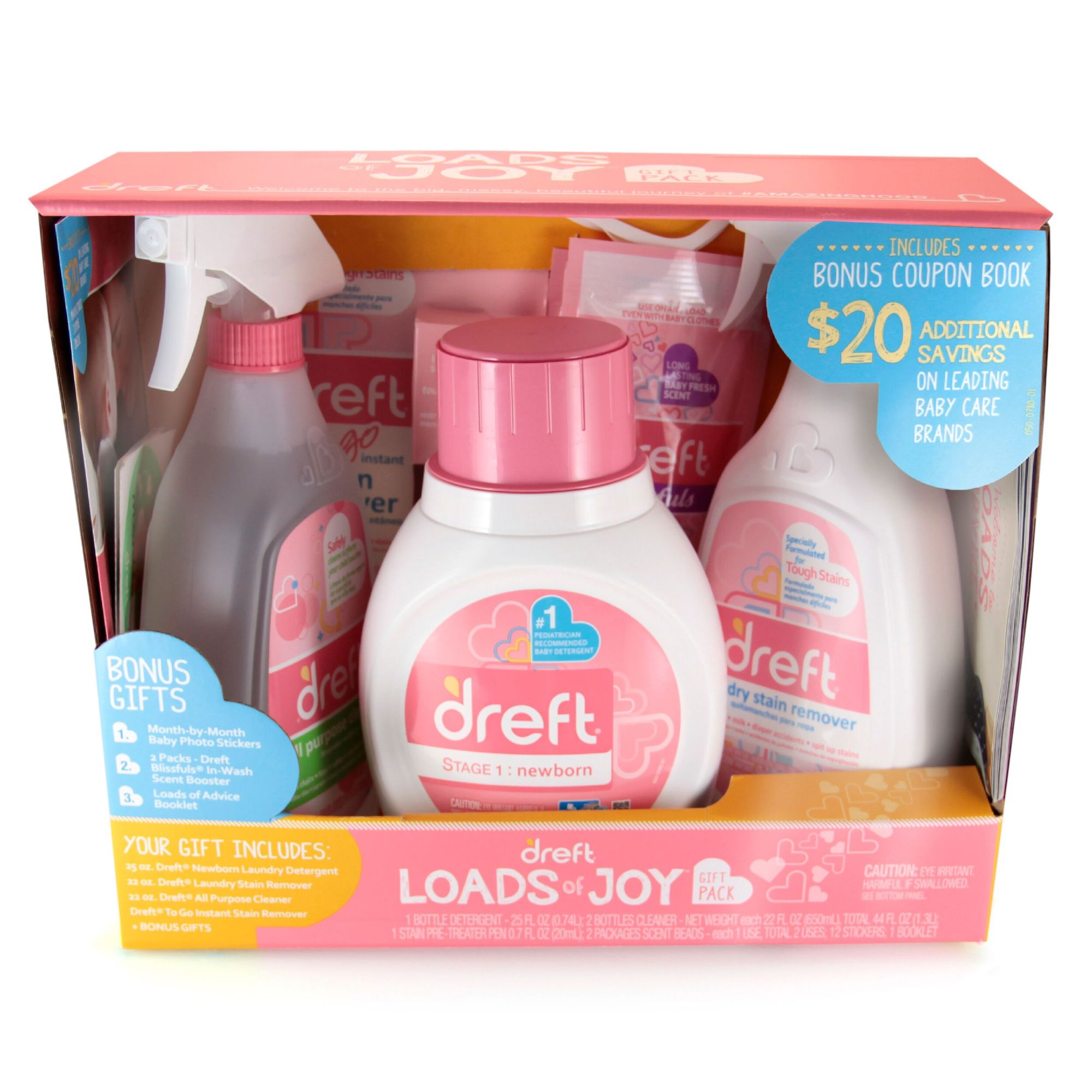 Dreft Loads Of Joy Gift Pack Laundry Set With Baby Laundry Detergent And Stain Removers Walmart Com Walmart Com