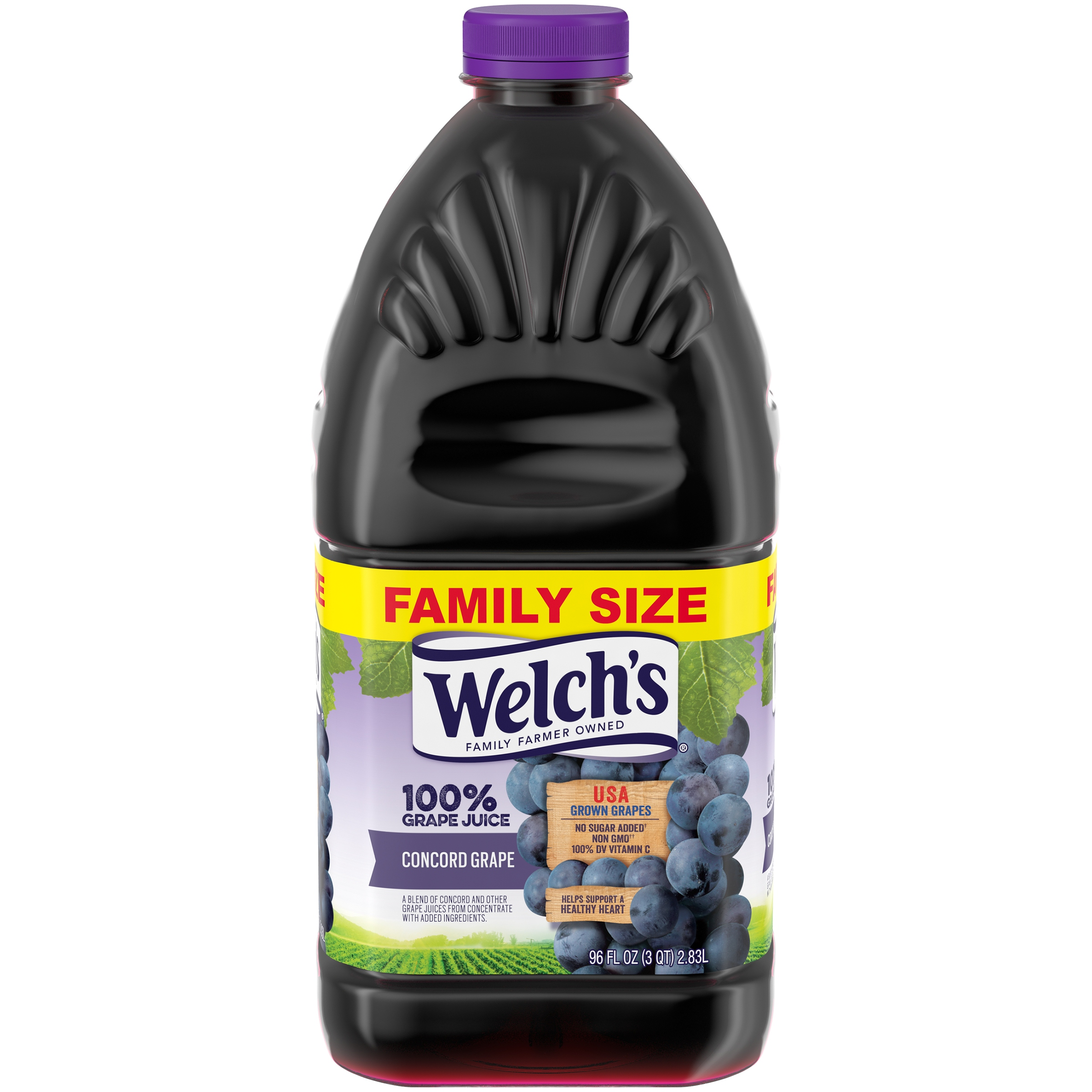 (2 pack) Welch's 100% Juice, Concord Grape, 96 Fl Oz, 1 Count