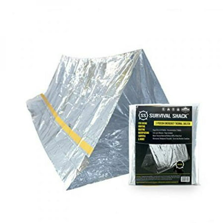 Survival Shack Emergency Survival Shelter Tent | 2 Person Mylar Thermal Shelter | 8' X 5' All Weather Tube Tent | Reflective Material Conserves Heat | Lightweight | Waterproof | Best Survival