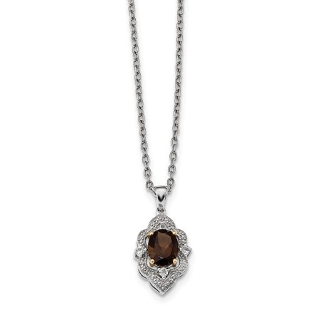 Sterling Silver&14K Smoky Quartz White Topaz and Diamond Necklace