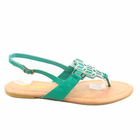 4b6d48680644 Jalila-23 Women s Beach Slip On Gold Plated Slingback T-Strap Flat Thong  Sandal. Average rating 0out of5stars
