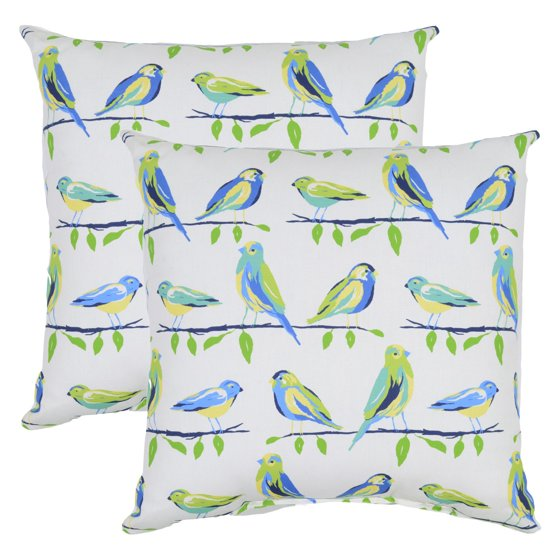Newport Decorative Pillows Set Of 2 : Plantation Patterns Birds 18 in. Throw Pillow - Set of 2 - Walmart.com