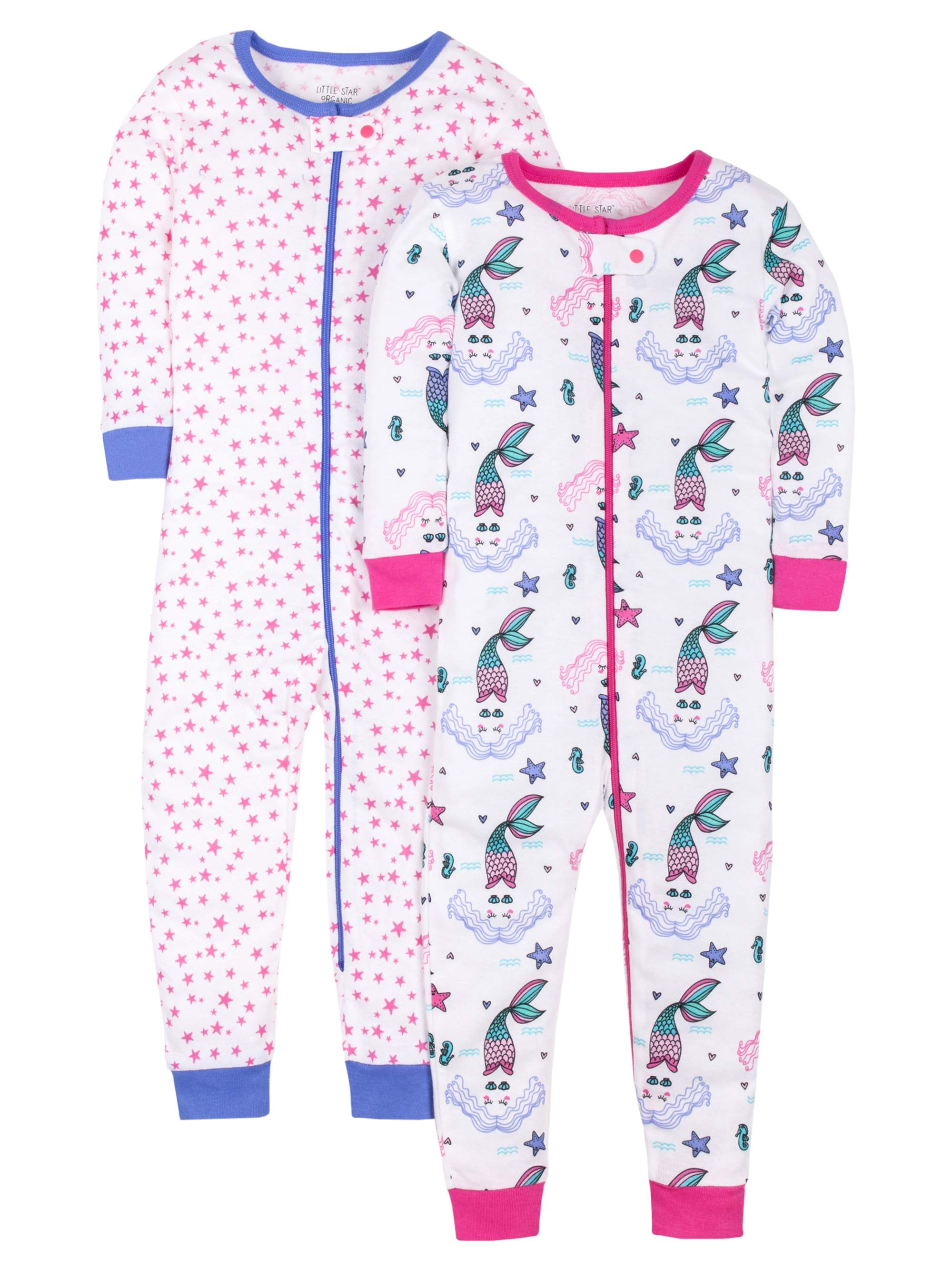 100% Organic Cotton Footless Stretchies Pajamas, 2-pack (Baby Girls and Toddler Girls)
