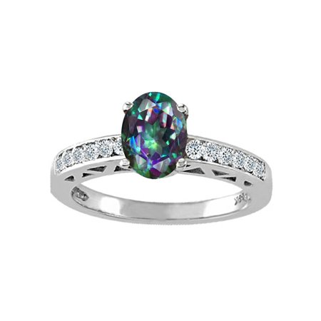 Tommaso Design Oval 8x6mm Mystic Rainbow Topaz Solitaire Engagement