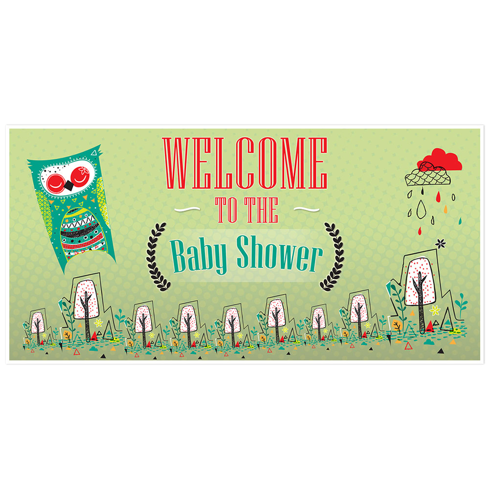 Green Owl Baby Shower Banner