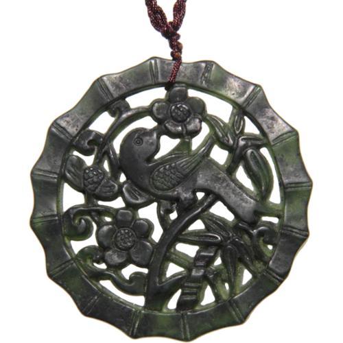 Zenses Happy Bird Dark Green Jade Pendant Necklace (China)
