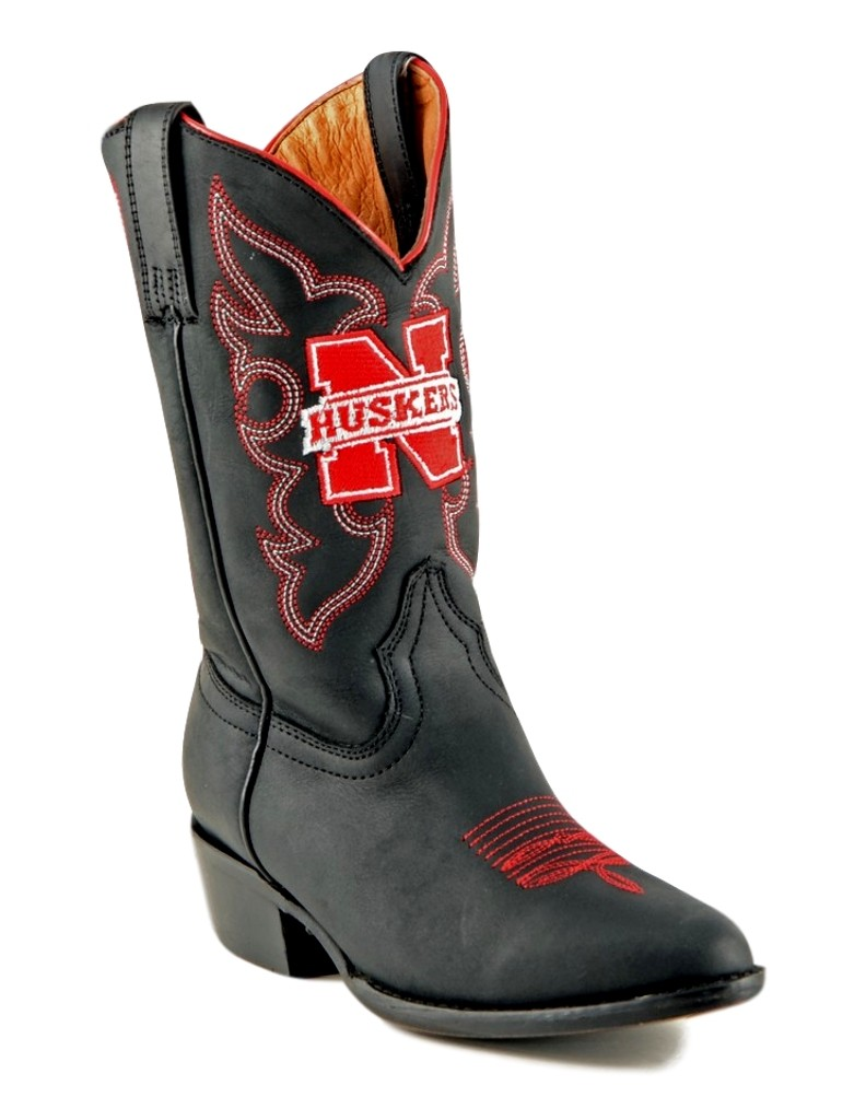 Gameday Boys Black Leather University of Nebraska Western Cowboy Boots by GameDay Boots