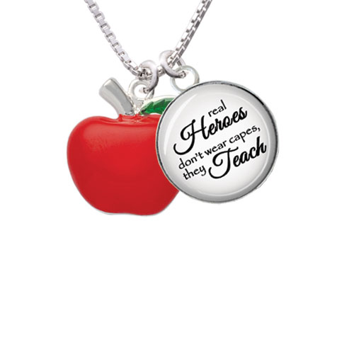 """Large Red Apple Real Heroes Teach Glass Dome Necklace, 18""""+2"""""""