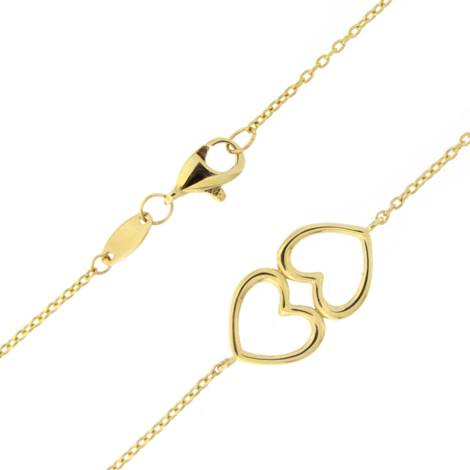 Beauniq 14k Yellow Gold Double Heart Adjustable Anklet - ...