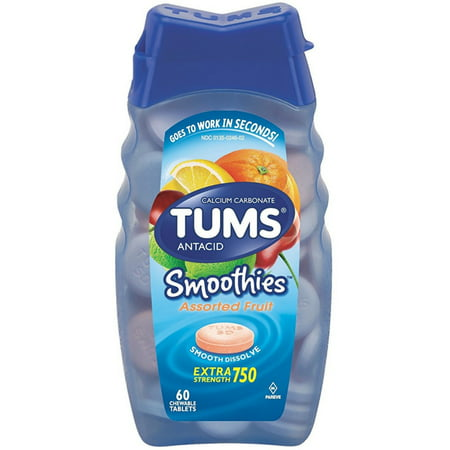 - 2 Pack - TUMS Smoothies Antacid Chewable Tablets, Assorted Fruit 60 ea