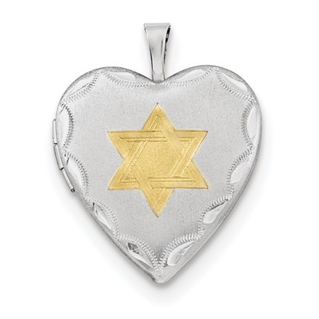 925 Sterling Silver 20mm Gold Plated Jewish Jewelry Star Of David Heart Photo Pendant Charm Locket Chain Necklace That Holds Pictures Religious Judaica Gifts For Women For Her