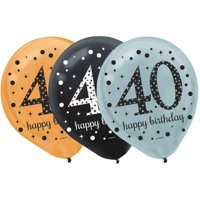 Over the Hill 'Sparkling Celebration' 40th Birthday Latex Balloons (15ct)