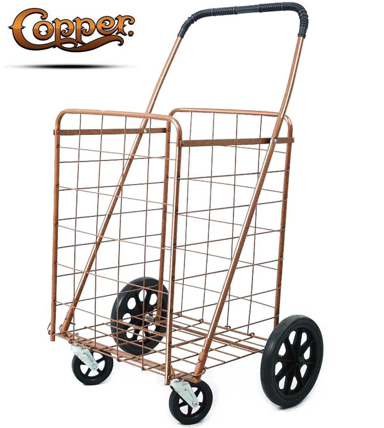 Premium Metallic Copper Folding Shopping Cart 150 lb Capacity, w/Spinning Wheels, Grocery Shopping Made Easy Utility Cart 2 Choice (Single Basket)