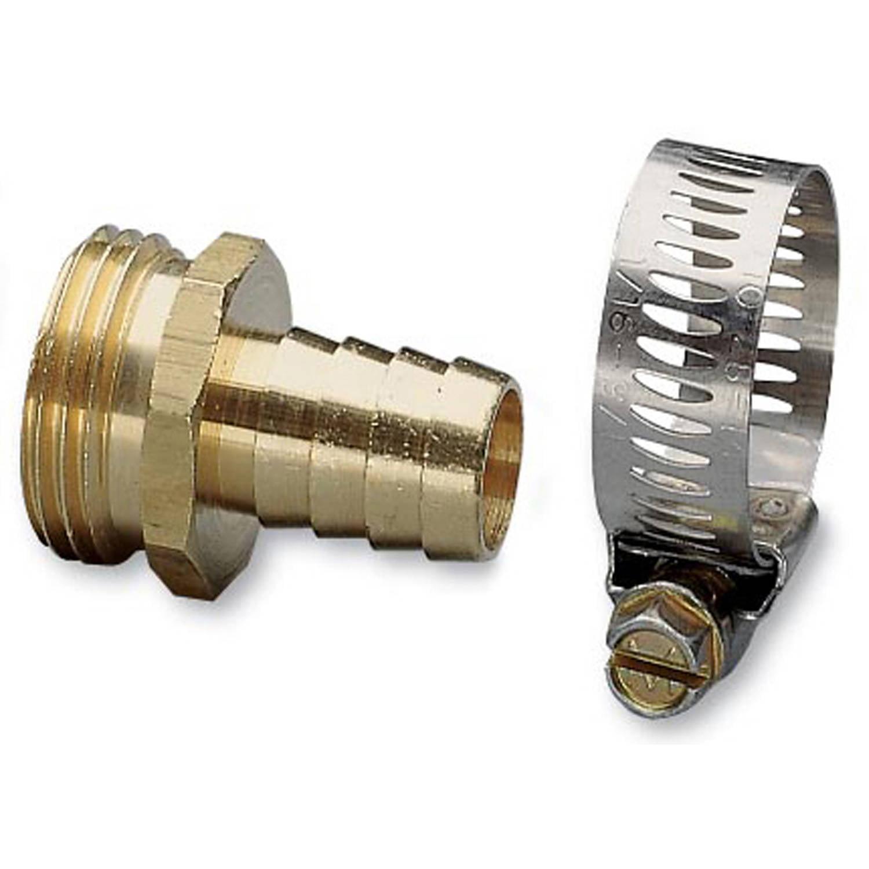 "Nelson 50453 3/4"" Brass & Worm Gear Clamp Male Hose Repair"