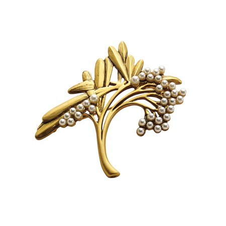 (Museum Reproductions Women's Art Nouveau Spray Brooch - Gold Tone Faux Pearl Pin)