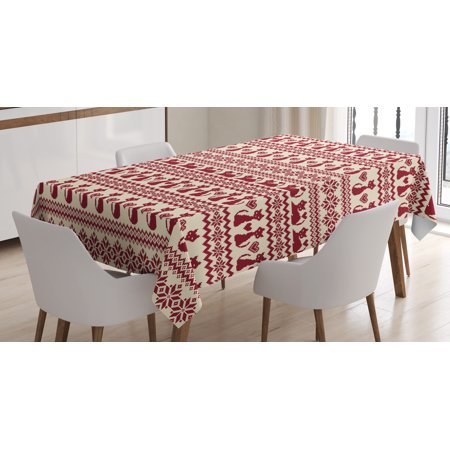 Nordic Tablecloth, Cat Pattern Pixel Art Inspirations Feline Love Animal Themed Christmas Illustration, Rectangular Table Cover for Dining Room Kitchen, 52 X 70 Inches, Beige Ruby, by Ambesonne
