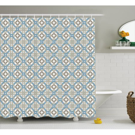 Quatrefoil Shower Curtain, Circular and Floral Shapes with Intricate Design Traditional Moroccan Star, Fabric Bathroom Set with Hooks, 69W X 70L Inches, Tan Beige Blue, by Ambesonne