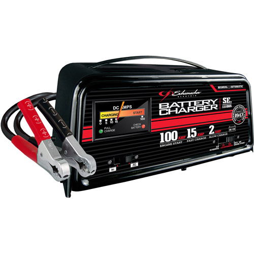 Schumacher 100/15/2 Amp Fully Automatic Charger with Engine Start and 2 LEDs