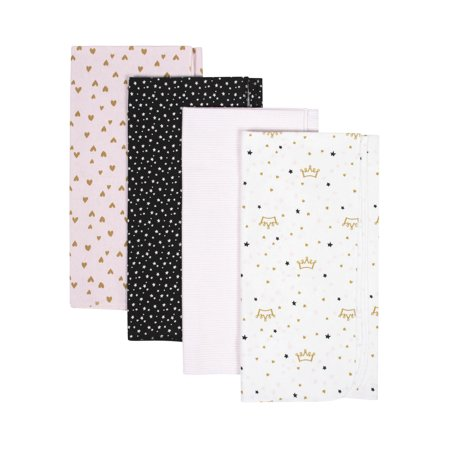 Gerber Organic Cotton Flannel Receiving Blankets, 4pk (Baby Girls)