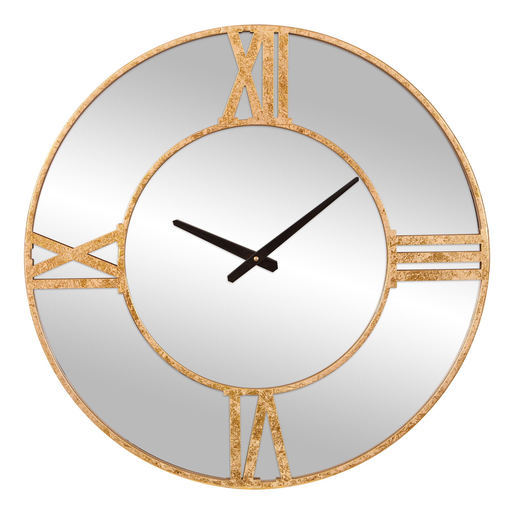 24 Inch Minimalist Gold Mirrored Roman Numeral Wall Clock