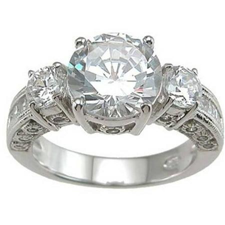 CZ Sterling Silver Rhodium Finish 3-Stone Wedding Ring