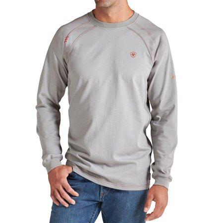 Ariat apparel mens flame resistant grey work crew shirt for Flame resistant work shirts