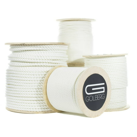 "GOLBERG Twisted Nylon Rope - Premium USA Made - Choose from 1/4"", 5/16"", 3/8"", 1/2"", 5/8"", 3/4"", 1"", 1 1/4"", 1 1/2"", 2"" Diameter - Available in Lengths of 10"