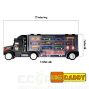 Toy Truck Super Mega Extra Large Tractor Trailer Car Collection Case Carrier Transport Toy Truck For Kids Includes 12 Cars 1 Small Tractor Trailer & 6 More Accessories