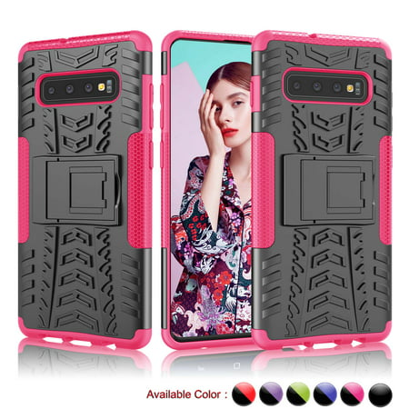 Samsung Galaxy S10 Plus / Galaxy S10 / Galaxy S10E Cases Protective, Njjex Dual Layer Shockproof Slim Protective with Kickstand Hard Phone Case Cover -Hot Pink Hot Pink Hard Case Cover