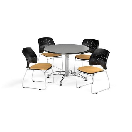 Ofm Pkg Brk 168 0021 Breakroom Package Featuring 42 In  Round Multi Purpose Table With Four Stars Stack Chairs
