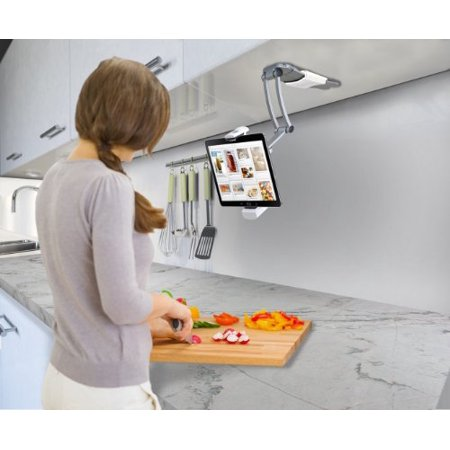 CTA Digital 2-in-1 Kitchen Mount Stand for iPad Air, iPad mini, Surface, & Other 7-12 Inch Tablets (PAD-KMS) (Ipad Stand For Kitchen)