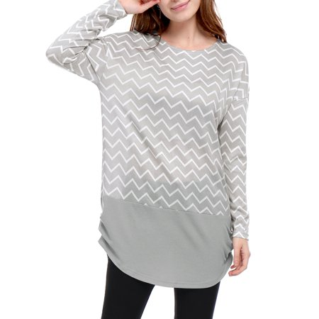 Women Long Sleeves Ruched Sides Chevron Loose Tunic - Long Sleeve Ruched Tunic