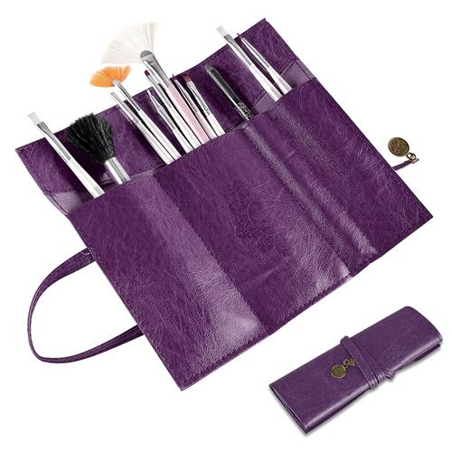Zodaca Fashion Purple Retro Roll Up Leather Makeup Cosmetic Pencil Case Bag Makeup Brush Holder