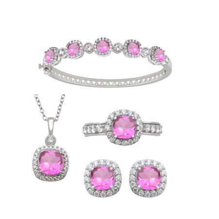 Pink Sapphire Set Bracelet (Cushion Cut Simulated Pink Sapphire and Round Clear CZ Ring, Pendant, Earrings and Bracelet Set in)