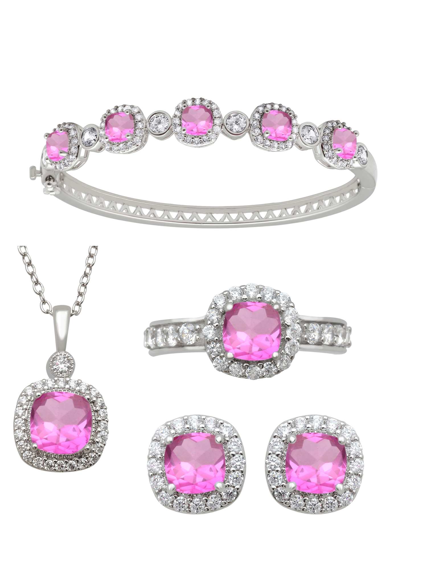 Cushion Cut Simulated Pink Sapphire and Round Clear CZ Ring, Pendant, Earrings and Bracelet Set in Brass