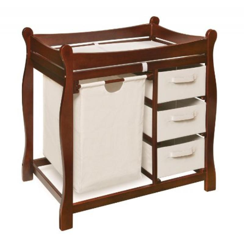 MPN: 02402 Badger Basket Company Sleigh Style Changing Table with Hamper 3 Baskets in Ch... by Educational %26Fun By Badger