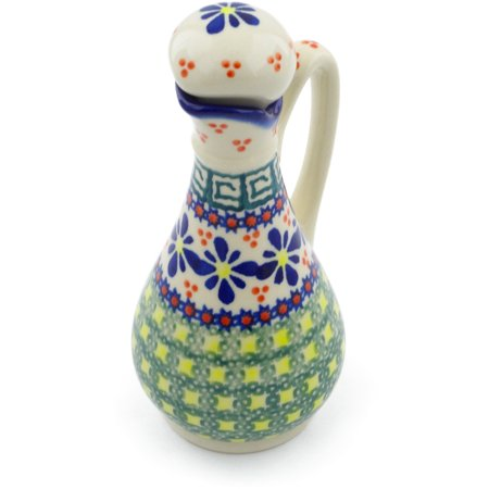 Polish Pottery 4 oz Bottle (Irish Spring Theme) Hand Painted in Boleslawiec, Poland + Certificate of Authenticity