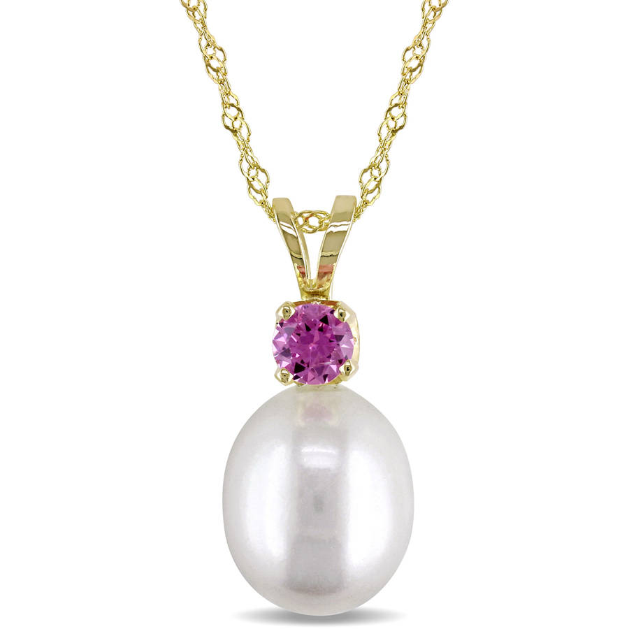 Tangelo 8-8.5mm White Cultured Freshwater Pearl and 1 3 Carat T.G.W. Pink Sapphire 14kt Yellow Gold Fashion Pendant,... by Tangelo